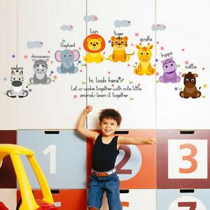 Jungle Animals Kingdom Elephant Lion Tiger Decal Wall Sticker Children's Bedroom