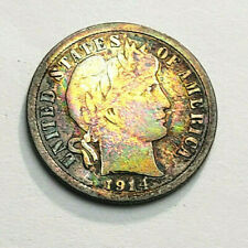 1914 D Barber Dime *90% SILVER* *RAINBOW TONED - NICE, COLORFUL TONING*