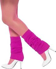 Ladies 1980s Neon Night Fancy Party Stocking Legwarmers Hot Pink Pack Of 3