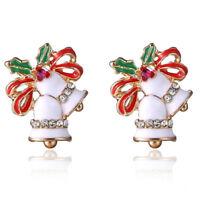 1 Paar Weihnachten Emaille Glocke Ohrringe Strass Ohrstecker Ohrringe Schmuck CP
