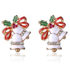 1Pair Christmas Enamel Bell Earrings Rhinestone Ear Stud Earrings Lady P&C