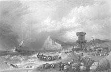 England DOVER CLIFFS SAILBOAT GALLEON SHIP In STORM ~ 1869 Art Print Engraving