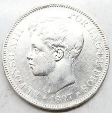 ESPAÑA ALFONSO XIII 1897 *18-97 SGV 5 PESETAS MONEDA PLATA MBC+
