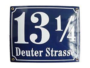 Hausnummer Hausnummernschild Emaille 25x30 cm mit Wunschstraßennamen und Nummer