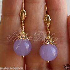 Women Jewelry Lavender Purple Jade Stone Round Gold Plated Leverback Earrings