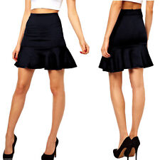 Womens Work Casual BUSINESS PARTY Ruffle Fish Tail Mermaid Skirts SMALL BLACK