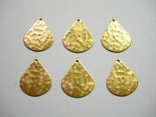 Hammered Raw Brass Teardrops Earring Findings Discs - 6