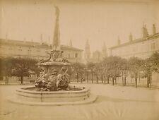 2 Photos NANCY c. 1880 - Place Fontaine Eglise Lorraine