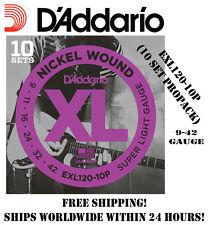 **10 SETS D'ADDARIO EXL120 ELECTRIC GUITAR STRINGS (NICKEL) EXL120-10P PROPACK**