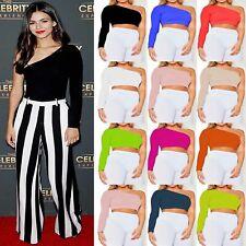 Womens One Shoulder Crop Top Long Sleeve Slim Vest Tank Tops Blouse Clubwear Tee