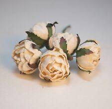 Paper Peony Ranunculus Flower Ivory mulberry Crafts DIY wedding scrapbook 5 pcs