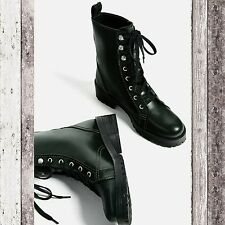 ZARA Military flat lace up ankle boots Size 6.5 US 37 EUR