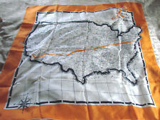"""Vintage 50s Scarf Silk Usa Map large 31x32"""" Orange Look at America Hand Rolled"""