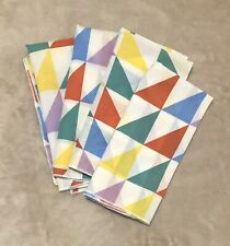 Vintage Totally 80's Geo Cloth Napkins Triangles Unbranded Thin Set Of 4