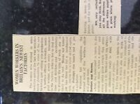 M3-8a 1941 dagenham. ww2 article women workers in factories great conditions