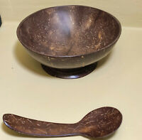 Natural Vegan Coconut Bowls with Spoons Set for Food Acai Smoothie Breakfast New