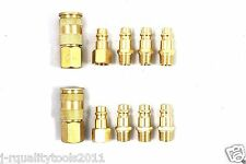 10pc HI-FLO BRASS QUICK COUPLER AIR HOSE FITTING PLUGS