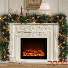 Large 9ft Luxury Xmas Light Up LED Pre Lit Garland Decorated Christmas Decor UK