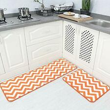 2 Pieces Microfiber Chevron Non-Slip Soft Kitchen Mat Bath Rug Doormat Runner ""