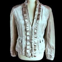 White House Black Market Womens Sz 4 Blouse Velvet Jacket Blazer Coat Top Beige