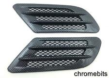 2 Side Wing Air Flow Intake Vent Trim Fender Grill Universal Black Carbon N11