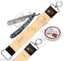 SALON STRAIGHT CUT THROAT SHAVING RAZOR LEATHER STROP PASTE TIRAŞ AFEITAR bıçağı
