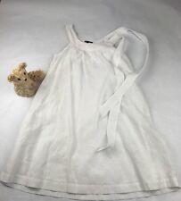 THEORY White Linen Scoop Neck Sleeveless Pull Over Above Knee Shift Dress Sz 6