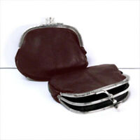 Black Genuine Leather Small Coin Purse  Change Holder for Women