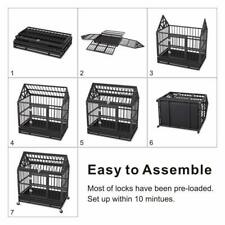 """Outdoor Portable 4 Wheels Heavy Duty 44"""" Folding Dog Crate Cage House with Roof"""