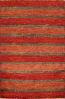 Striped Gabbeh Kashkoli Oriental Area Rug Hand-knotted Wool Modern 3'x4' Carpet