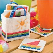 Needlepoint on plastic canvas Set of 4 Summertime Coasters with Tote
