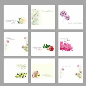 Pack of 50 Florist Funeral Sympathy Message Flower Cards - Choice of Design