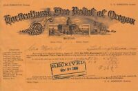 U.S. Horticultural Fire Relief of Oregon 1909 Illustrated Paid Invoice Ref 42599