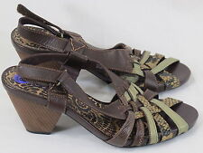 Indigo by Clarks Brown Leather Peep Toe Sandal Heels 8 M US Near Mint Condition