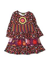 Toddler Girl Zaza Couture Fall Winter Multi Pattern Floral Striped Dress Size 3T