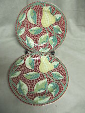 PIER 1 MOSAIC FRUIT 2  SALAD PLATES IN VERY GOOD CONDITION