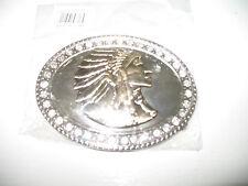 Gold Silver Diamonds Pewter Indian Cherokee Apache Belt Buckle