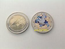MONETA 2 EURO FINLANDIA 2005 ADESIONE ONU ANNIVERSARIO COLORATA DIPINTA A MANO