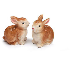 NEW Ceramic Brown Bunny Rabbit Pair of Salt & Pepper Shakers Gift Burton+Burton