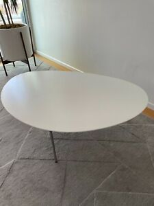 Design Within Reach DWR Coffee Table in white with oval kidney shape