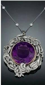 12Ct Round Cut Amethyst Syn Diamond Antique Style Locket Yellow White Fns Silver