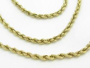 """14k Yellow Gold Rope Design Hand Made Chain Necklace 18"""" Length 10.1 Grams"""