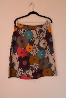 A Line Skirt Size 10 WHITE STUFF Midi Floral Blue Embroidered Cotton Lined B24