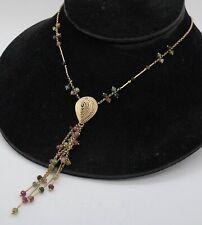 Vintage 14K gold 10.0CTW tourmaline/topaz/sapphire tassel pendant necklace