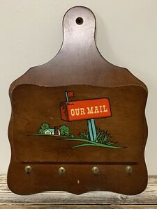 """Vintage Wood Wall Mount Mail/Key Holder - """"Our Mail""""  - 9.5"""" X 13"""""""