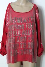 Shirt Gr. 42-44 rot Langarm Blusen Damen Shirt mit Pailletten aus Italien