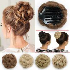 Women Elegant Claw Clip In Updo Bun Onepiece Hair Extensions Real Thick Chignon