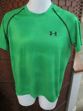 Men's Under Armour T Shirt Athletic Shirt Size Small Green All Over Pattern Loos