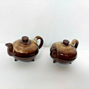 VINTAGE BROWN GLAZED TEAPOT SALT AND PEPPER SHAKERS MINT CONDITION! FROM JAPAN