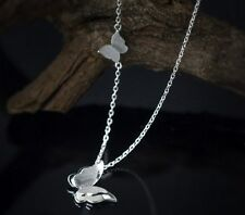 18K Stainless Steel Butterfly Pendant Charm Necklace Clavicle Chain Gift Box P28